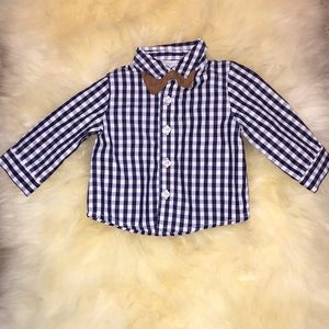 Boys button down shirt with bow tie